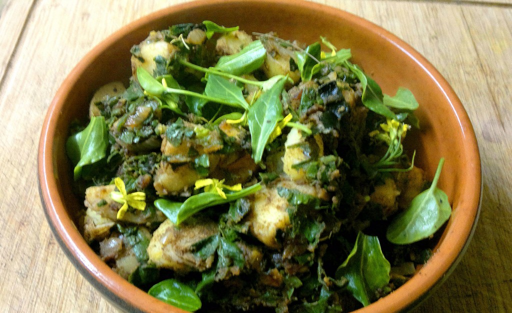 saag aloo made with sea beet, scurvy grass, coriander grass and gorse buds