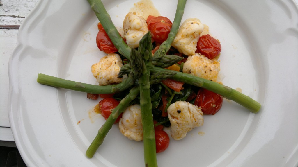 June 10th: Monkfish roasted in chorizo oil, ayrshire asparagus, wilted frosted orache + roasted cherry tomatos.