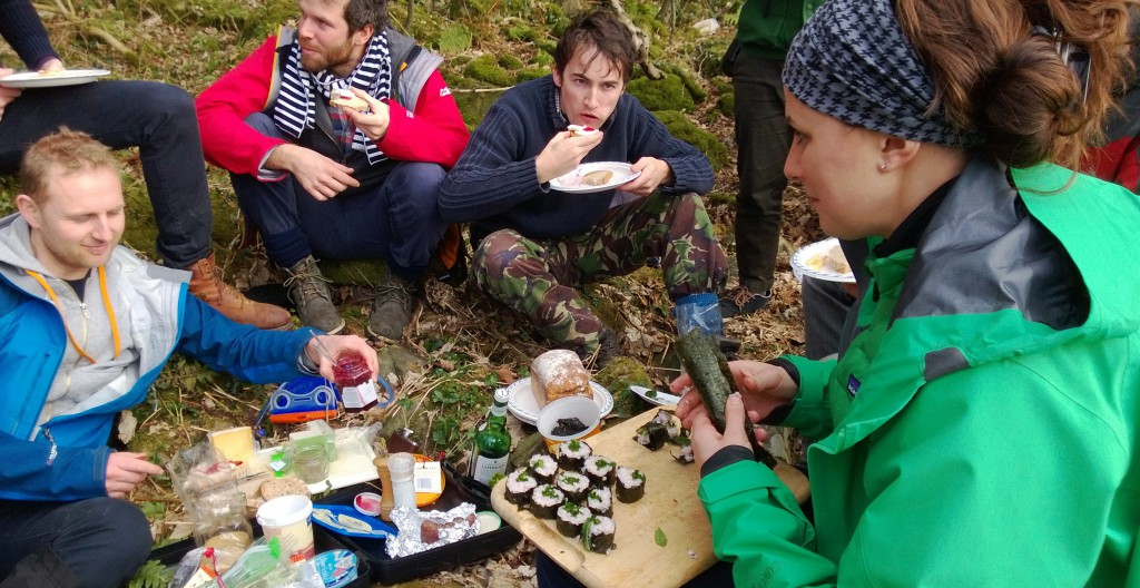 sushi in the woods