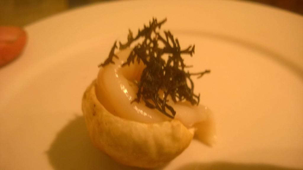 Sashimi Umami Bomb: Bouchon cep cap, spoot clam, pepper dulse