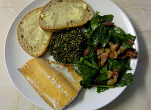 Laverbread with smoked cod, sea beet, bacon and sourdough. My dream brunch.