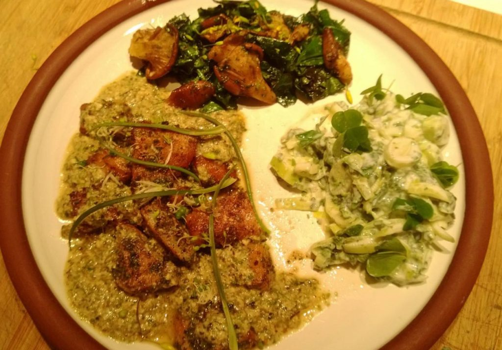 Wild spiced sea bass curry 'Rogan Jock'; Methi saag made with roach and fenugreek milkcaps; and a cooling raita made with reedmace hearts, scots lovage seeds, wood sorrel and watermint.